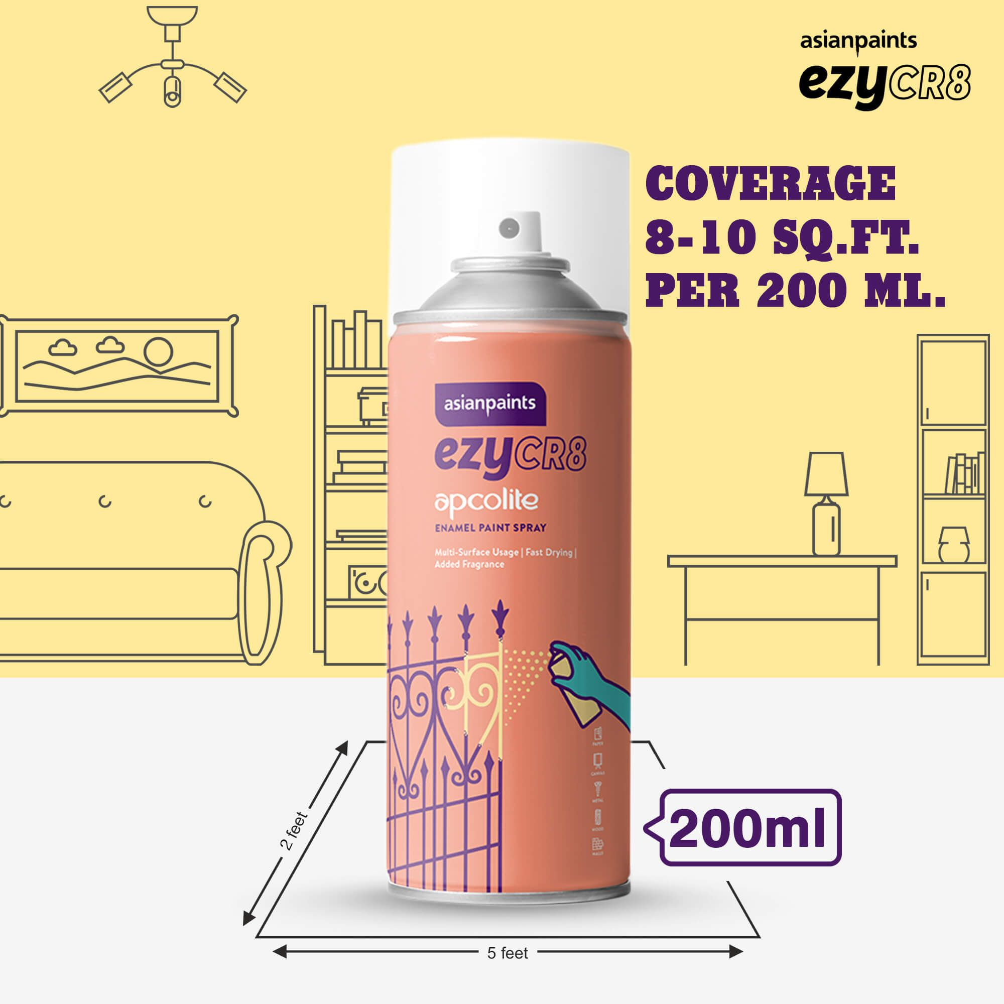 ezyCR8 Apcolite Enamel Paint Spray Golden Yellow (Yellow) 200ml