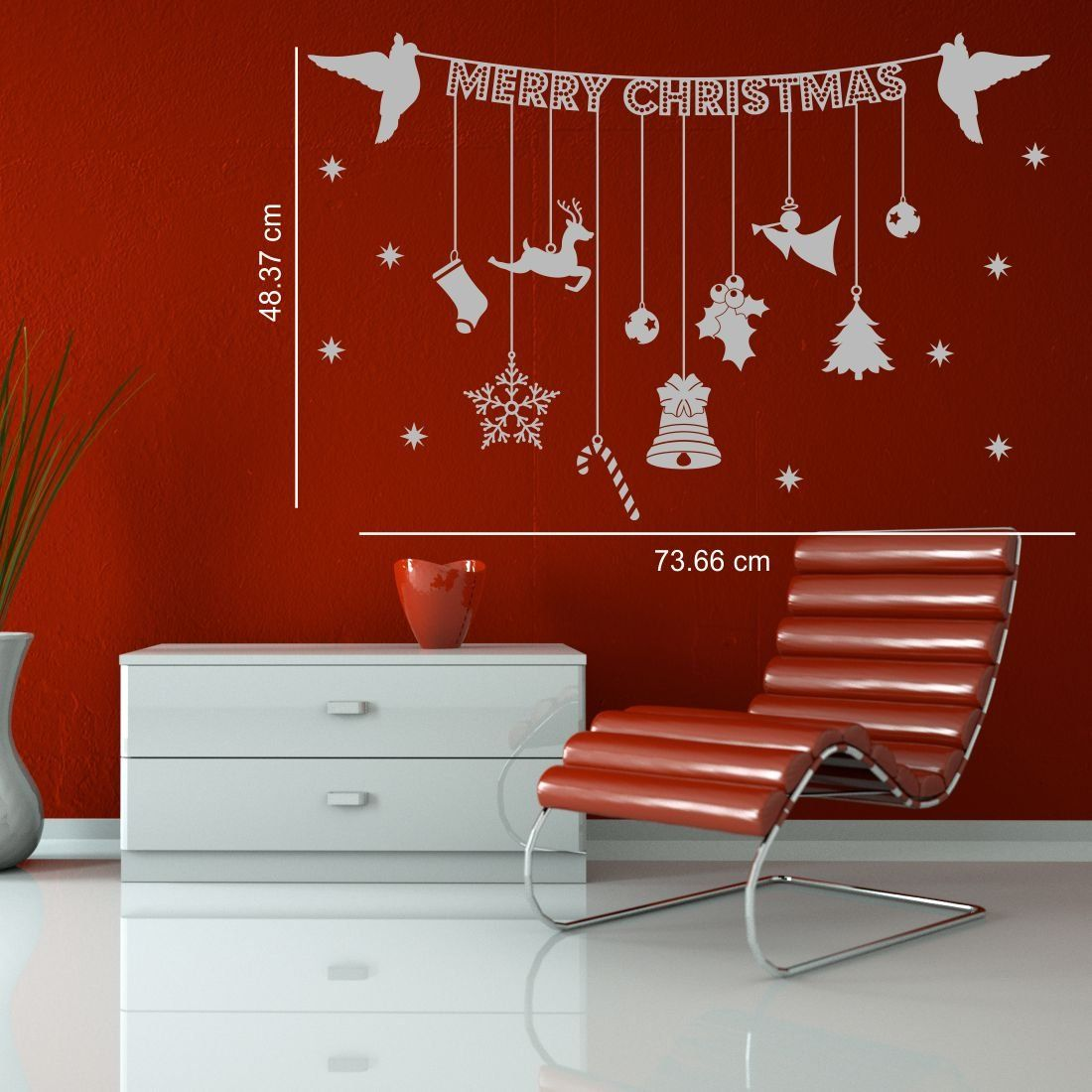 Hanging Christmas Banner With Decoration Ornaments