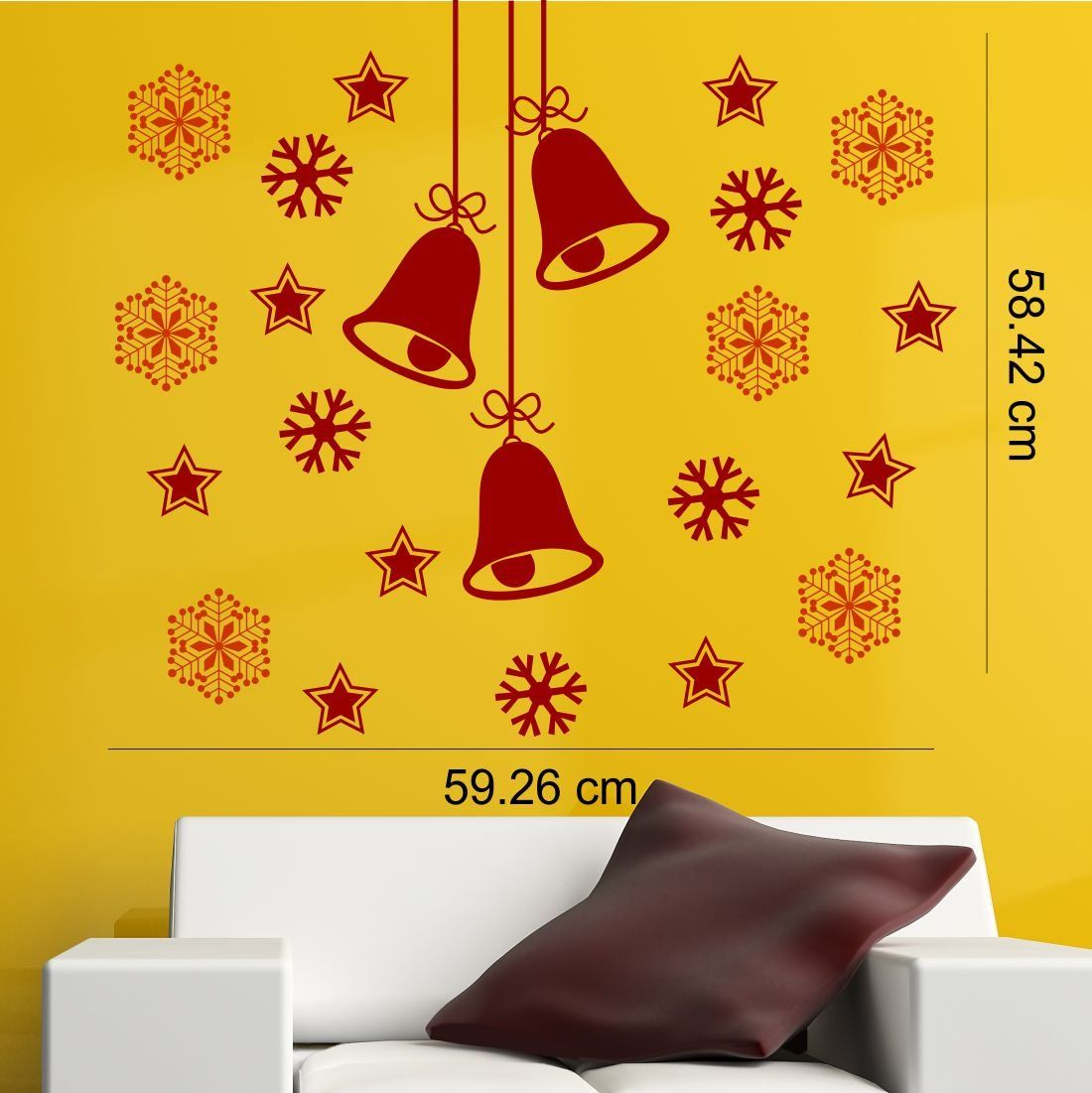 Snowflakes And Stars Around Christmas Bells