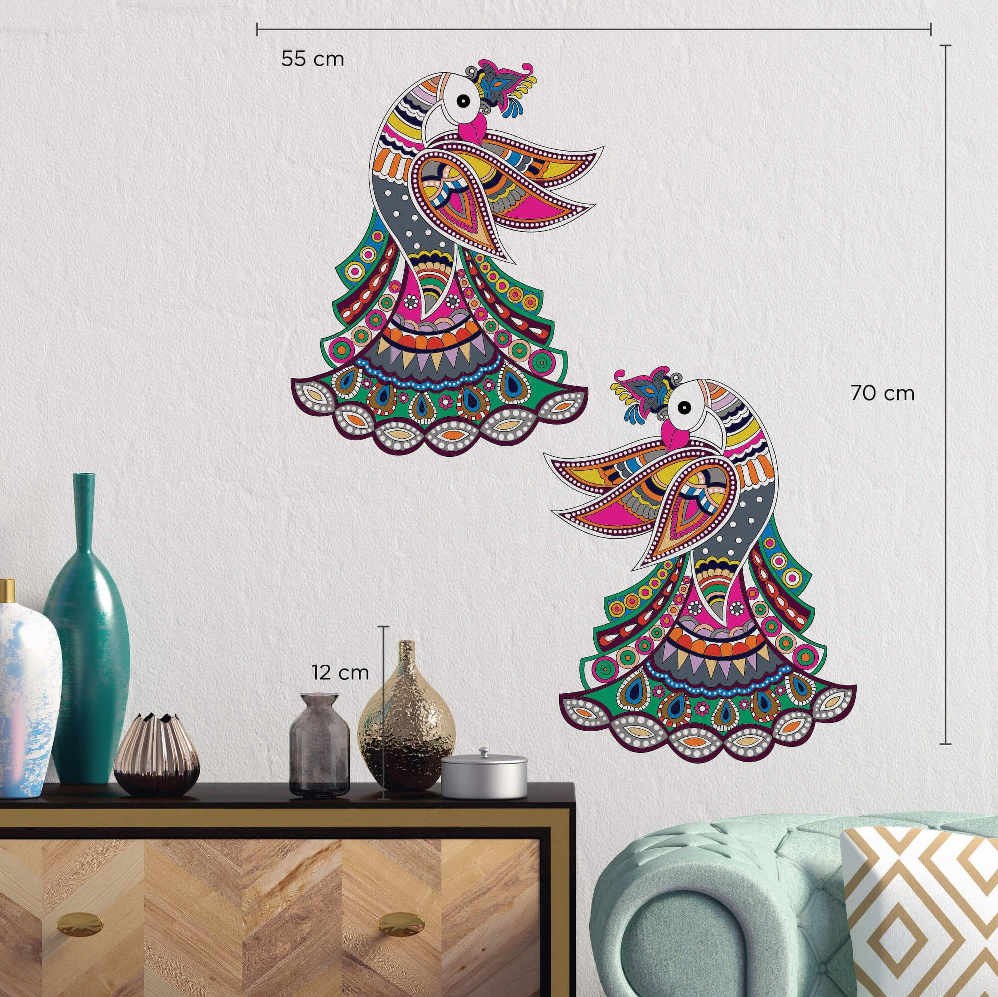 Prancing Peacocks Wall Sticker
